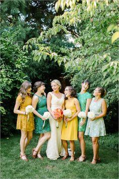 assorted yellow and green cute bridesmaids dresses #bridesmaids #mismatched #weddingchicks http://www.weddingchicks.com/2014/03/25/local-green-diy-wedding/