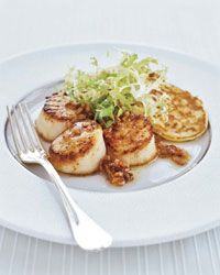Seared Scallops and Corn Cakes with Bacon Vinaigrette - Stewart Woodman often serves savory waffles and pancakes with his dinners in place of rice or potatoes. Here, he pairs big, beautifully seared scallops with delectable corn pancakes. Bacon Dishes, Fish Dishes, Seafood Dishes, Fish Recipes, Seafood Recipes, Cooking Recipes, Corn Recipes, Recipies, Entree Recipes