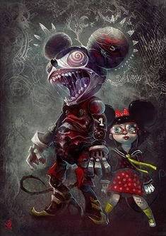 Monstrous Mickey Mouse by Manuhell . *Previously: Mickey Mouse is awfull. Zombie Disney, Creepy Disney, Disney Horror, Evil Disney, Disney Fan Art, Dark Disney Art, Arte Horror, Horror Art, Twisted Disney Princesses