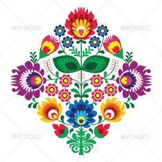 Polish Floral Folk Embroidery Pattern