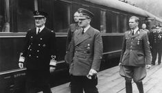 Adolf Hitler - with Hungarian Admiral Horthy - and Albert Bormann. Hitler met the Hungarian High Quisling on his arrival in a special train and presented him with an Iron Cross. Personal Armor, Trains, Holocaust Survivors, Army Veteran, North Korea, Historian, World War Two, Wwii, Military Jacket
