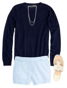 """""""Who's ready for summer?"""" by preppy-ginger-girl ❤ liked on Polyvore featuring J.Crew, Jack Rogers and The Pearl Quarter"""