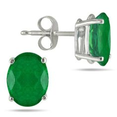 All-Natural Genuine 5x3 mm, Oval Emerald earrings set in Platinum Szul. $379.00
