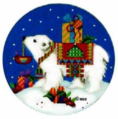 Melissa Shirley Designs | Hand Painted Needlepoint, polar bear with presents