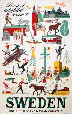 Vintage Poster Sweden Land of Colours and by voyagevintage20 #vintage #travel #posters #vintageposters