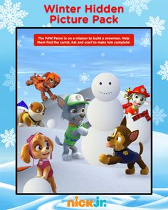 Printable winter hidden picture pack, featuring the PAW Patrol, Bubble Guppies, and Dora!