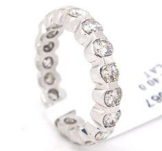 Traditional Platinum,SI1-SI2 G-H 2.40tcw Diamonds Bezel Set Eternity Band Ring,6