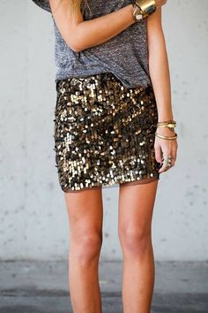 73b344b1f168e8 Metallic sequin skirt with grey simple tee. Sequined Skirt