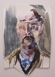 """Pastiche Series No. 1, or """"He knew she couldn't stand his mus-stache."""" original figurative painting by artist Hannah Dean (USA) available at Saatchi Art #SaatchiArt"""