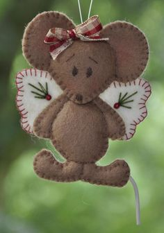 *FELT ART ~ An angel of a mouse [2 pieces] | Christmas | decorations | felt | handicraft | selfmake packets | Atelier Wilma Creative