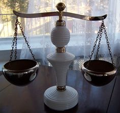 Vintage Milk Glass Brass Scale of Justice for by SierrasTreasure, $43.00