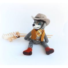 OOAK Art Doll Wool Wolf, Needle Felted Wolf Cowboy, Felt Wolf Toy,... (€49) ❤ liked on Polyvore featuring woolpaw