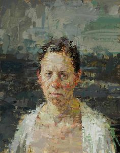 Ann Gale - Rachel with White Robe 2011, oil on masonite, 14 x 11 inches  image courtesy of Dolby Chadwick and the artist