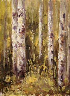 feeling | 8x6 oil aspen tree trunk study painting under the awning at camp