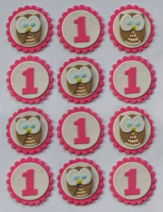 Items similar to Fondant Cake, Cupcake Toppers - Owls First Birthday Party Pack (Girl) on Etsy First Birthday Cupcakes, Baby Girl First Birthday, First Birthday Parties, First Birthdays, Birthday Ideas, Fondant Cupcake Toppers, Cupcake Cakes, Cupcake Ideas, Biscuit Decoration