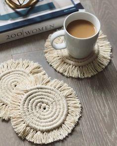 Set of 2 - Round Macrame Coasters