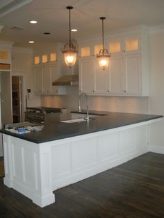 Kitchen White Classic Stained Wooden Cabinet With Traditional Pendant Also Rectangle Sink And Stove Besides  Kitchen Peninsula: An Alternative to Kitchen Island