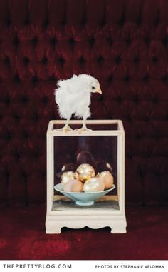 Gold Easter eggs & baby chick | Conceptualisation & Coordination: BonTon Events, Photographer: Stephanie Veldman, Sweets & Cake: Le Petit Four, Styling, flowers and decor: Okasie