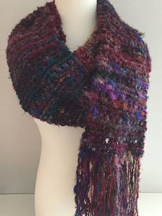 Sari Silk Yarn Skinny Scarf Just Right For Summer Sari