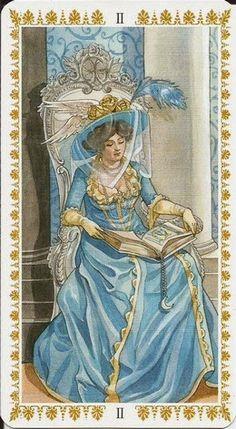 II. The High Priestess - Romantic Tarot by Emanuela Signorini, Guilia F. Massaglia