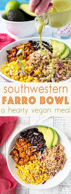 Southwestern Farro Bowl Even raging carnivores will love it Vegan Recipes Grain Bowl Buddha Bowl Vegetarian Plant Based Meals via midlifecroissnt Farro Recipes, Lunch Recipes, Whole Food Recipes, Healthy Recipes, Fall Vegetarian Recipes, Kebabs, Tex Mex, Healthy Grains, Healthy Eating