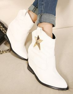Korean Style Star Embellished Wedge Heels Shoes Woolen Boot--Click the picture can place an order, we support wholesale.