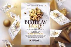 Birthday Invitation | 3 Psd Template by Creative Flyers on @creativemarket