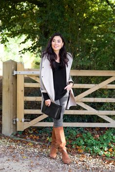 With Love From Kat // The English Countryside. Black sweater+grey denim+camel midi boots+lith taupe jacket+black clutch. Fall Casual Outfit 2016