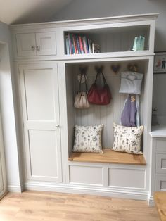 stairway decorating Hallway storage cupboard including shoe box and coat hooks with love heart featu Hallway Coat Storage, Coat Hooks Hallway, Coat And Shoe Storage, Porch Storage, Bedroom Storage, Shoe Storage Narrow Hallway, Hall Storage Ideas, Small Hallway Furniture, Hall Storage Unit