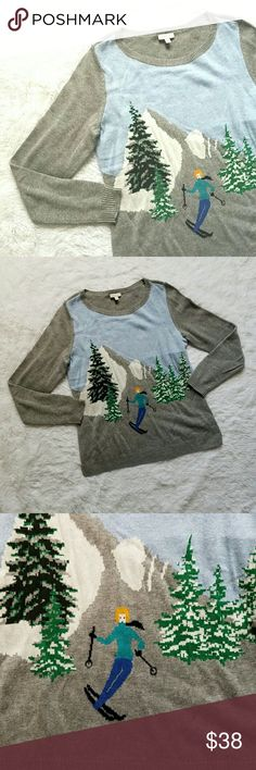 """{Talbots} """"Hit the Slopes"""" Sweater Adorable crew neck sweater by Talbots. Ski themed. Features a skier racing down the mountain slopes, amidst pinetrees and snow mounds. Gray, with a skiing theme in green, blue, purple, and white accents. Back is solid grey.  Enjoy Apr?s ski while wearing this fun, light 'n warm piece!   Perfect for the holidays and all winter long.   NOTE: Tag says Small Petite, but honestly, I'm a tall Small and I love it! Happy Poshing! Talbots Sweaters Crew & Scoop Necks"""