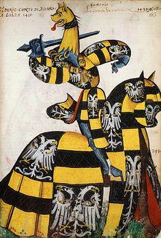 Le comte de Meurs, Grand Armorial équestre de la Toison d'Or, Flandres, 1430-1461.