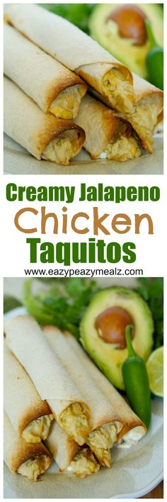 Creamy jalapeno chicken taquitos are not too spicy, and are bursting with awesome flavor. Plus they are super easy to make, and can even be made in advance for things like the BIG GAME! - Eazy Peazy Mealz