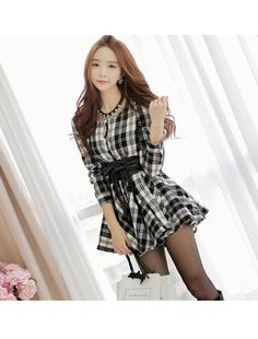 Allegra K Lady Single Breasted Plaids Pattern Casual Shirt Dress w Belt | Amazon.com