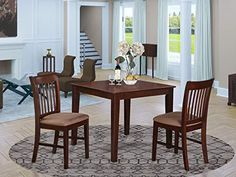 3 pc small kitchen table set -square table and 2 kitchen dining chairs Mahogany Dining Table, Wooden Dining Tables, Dining Room Sets, Dining Room Chairs, Dining Room Furniture, Wood Table, Small Kitchen Table Sets, Kitchen Dining, Kitchen Chairs