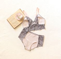 Grey and Pink 'Early Morning' Lace and Stripe Longline Bra and Panties Lingerie Set Handmade to Order