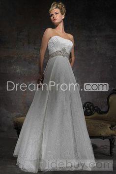 Gorgeous A-Line/Princess Strapless Chapel  Lace Wedding Dresses
