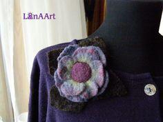 Purple flower felted brooch with dark brown leaves by LanAArt, $25.00