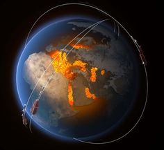 The magnetic field is thought to be largely generated by an ocean of superheated, swirling liquid iron that makes up Earth's the outer core 3000 km under our feet. Acting like the spinning conductor. Champs, Outer Core, Nasa, Earth's Magnetic Field, Polo Norte, Electromagnetic Field, Solar Activity, Alien Worlds, Interiors