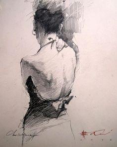 Contemporary figurative artist Andre Kohn, torso figure drawing of dressed standing woman posterior back. andrekohn.com