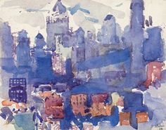 """John Marin  'Lower New York From the Bridge'  Watercolor and pencil on paper laid down on board  7 1/2 x 9 1/2"""""""