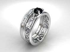 Black spinel engagement ring set, white gold, diamond wedding ring, black wedding ring, unique, filigree engagement ring, spinel, black,