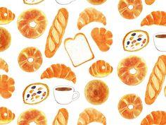 パン Food Icons, Simple Doodles, Food Drawing, Web Design, Food Diary, Food Illustrations, Cute Food, Cute Drawings, Cute Art