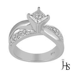 Women's 14K White Gold 0.75 CT Princess&Round Diamond Cross-Over Engagement Ring #WomensClassicRingJewelryhotspot