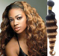 "12""-30"" Brazilian Ombre 6A Human Hair Extension Deep Wave 1B33#27# 100g/pc Wefts #WIGISS #HairExtension"