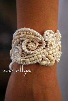 Beaded Pearls Bracelet Vintage Lace Beaded Cuff, $95