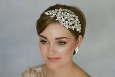 Statement crystal vintage deco wedding headband for short hair bride inspiration