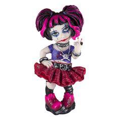 "Cosplay Kids Punk Girl Figurine Wearing Skull Necklace 6""H"