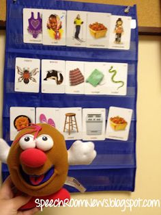 Speech Room News: Another pocket chart activity.  Fill the pocket chart with articulation cards.  Pass the Hot Potato! Catch him on your turn and read 3 cards and pull them out, then toss the potato again! PreK- K would love.