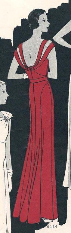 Butterick 5184; featured in Butterick Fashion Book Fall 1933; Faille Silk Dress.