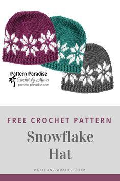 Free Crochet Pattern: Snowflake Hat - New Ideas Bonnet Crochet, Crochet Diy, Crochet Beanie Pattern, Crochet Gifts, Crochet Adult Hat, Womens Crochet Hats, Crochet Ideas, Knitting Patterns, Crochet Patterns